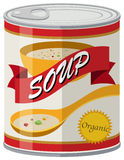 Organic soup in aluminum can Stock Photography