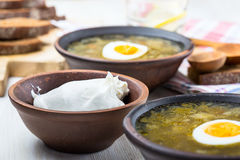 Organic sour cream and sorrel spinach soup. In ceramic bowl Stock Photo