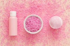 Organic spa cosmetic products bath salt bomb royalty free stock photos