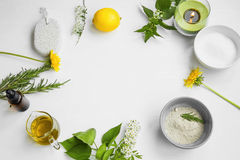 Organic spa.Skincare natural ingredients with clay, olive oil,pumice stone, herbal extracts, home-spa concept stock photos