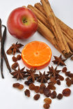 Organic spice, orange and apple Royalty Free Stock Photos