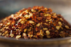 Organic Spicy Red Pepper Flakes Royalty Free Stock Images