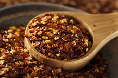 Organic Spicy Red Pepper Flakes royalty free stock photos