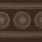 Organic spiral rose pattern, ethnic tribal style Stock Photos
