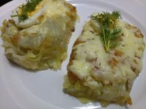 Organic spiralized potato chunks with melted cheddar cheese. Served hot on a white plate with herbs stock photos