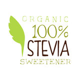 Organic stevia sweetener logo. Healthy product label vector Illustration Stock Images