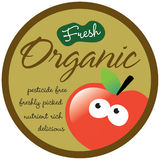 Organic Sticker/Label. With apple and editable text Stock Photography