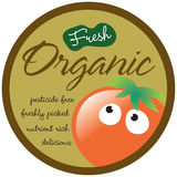 Organic Sticker/Label. Organic Veggies Sticker/Label with Tomato and Editable Text Royalty Free Stock Photography
