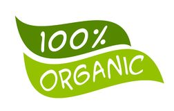 Organic 100% sticker. Vector illustration for graphic and web design Royalty Free Stock Photos