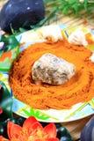 Organic stone and turmeric massage Royalty Free Stock Photos