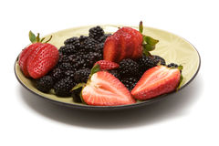 Organic strawberries and blackberries Royalty Free Stock Images