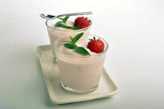 organic strawberries in natural yoghurt Royalty Free Stock Image