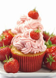 Organic strawberry cupcakes Royalty Free Stock Photo