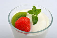 organic summer fruit in yogurt and mint Stock Images