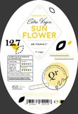 Organic sunflower oil label template Royalty Free Stock Image
