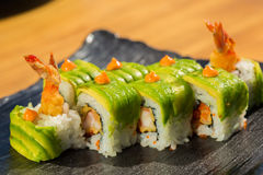 Organic sushi roll with  shrimp tempura at restaurant Royalty Free Stock Photography