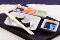 Organic sushi tuna. Organic fresh sushi made with the best tuna in the market Royalty Free Stock Photo