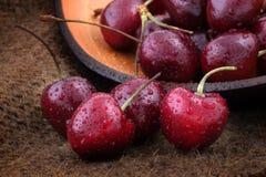 Organic sweet cherries Stock Photo