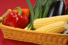 Organic sweet corn, paprika and spring onion Stock Images