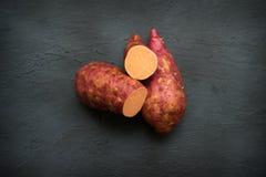Organic sweet potato top view stock image
