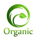 Organic circle logo. Organic swoosh swirl with leaf and name Royalty Free Stock Photo