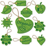 Organic tags. Set of organic related vector tags Royalty Free Stock Photography