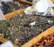 Organic tea sale at the market. Royalty Free Stock Photo