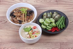 Organic Thai recipe as fermented soy bean sauce with mixed vegetables  and brown soup. Royalty Free Stock Image