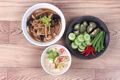 Organic Thai recipe as fermented soy bean sauce with mixed vegetables  and brown soup. Stock Image