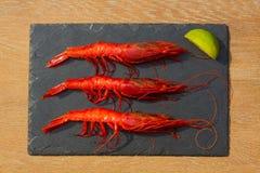 Organic Tiger shrimps on black stone background Stock Images