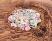 Organic tomato and green onion scallion salad Royalty Free Stock Images