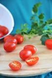 Organic tomato on tray Royalty Free Stock Image