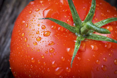 Organic tomato with Water Droplets Macro. Organic tomato with water droplets in closeup macro Stock Photo
