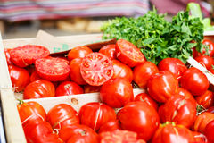 Organic tomatoes from mediterranean farmers market in Provence, Royalty Free Stock Photography