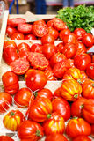 Organic tomatoes from mediterranean farmers market in Provence, Royalty Free Stock Image