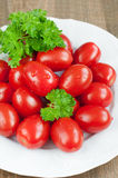 Organic tomatoes and parsley Royalty Free Stock Photo