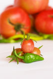 Organic tomatoes and peppers Stock Photography