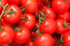 Organic tomatoes in a pile. Bio market concept, food background stock photo