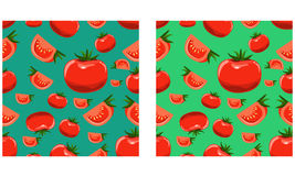 Organic Tomatoes seamless pattern. Flat color style illustrated vector. Royalty Free Stock Photos