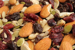 Organic Trail Mix. A healthy organic trail mix of almonds, raisins, cranberries, and other various nutrition Stock Photo