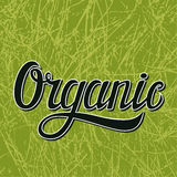 Organic typography illustration on green. Hand-drawn calligraphic title Organic with grunge background.Typography poster or label.Vector illustration Royalty Free Stock Photography