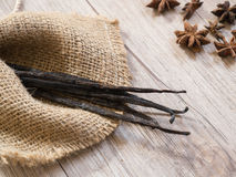 Organic vanilla bean. On sackcloth Royalty Free Stock Photos