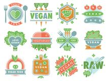 Organic vegan healthy food eco restaurant logo badges labels with vegetarian raw nature food diet designs vector. Organic vegan food healthy eco restaurant logo Stock Images