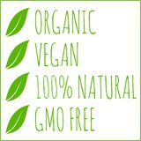 Organic, vegan, natural, GMO free - green leaves vector stock illustration