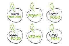 Organic, Vegan, Raw, Fresh Food, GMO Free, 100% Natural labels. Green and grey vector logos, signs. Symbols for healthy eating. Health, menu, market, product royalty free illustration