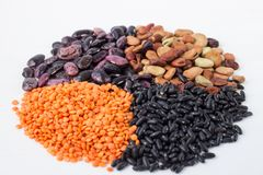 Organic vegan vegetarian grain food cereal bean lentils ingredients mix circle. Healthy vegan vegetarian grain food cereal bean lentils ingredients mix circle stock photo