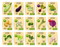 Organic vegetable price tag or label set design Stock Photos