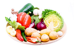 Organic vegetable selection. A platter of nutritious and fresh organic vegetables royalty free stock image