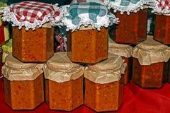 Organic vegetable stew packed in jars Stock Photo