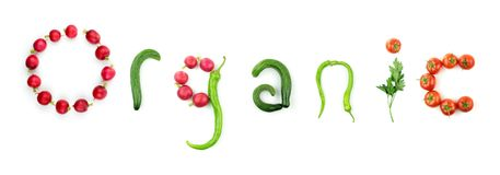 Organic vegetable text Stock Photos